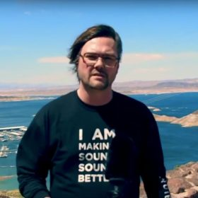 Poul Mejer of Bubblebee Industries with Windkiller on Hoover Dam